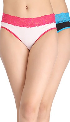 Set Of 2 Cotton Mid Waist Bikini With Contrast Lacy Waist - Multicolor