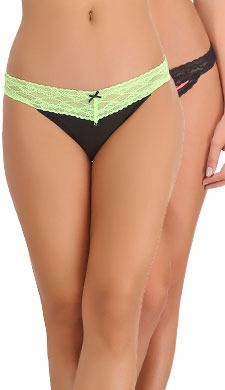 Set Of 2 Cotton & Lace Mid Waist Bikinis - Green & Pink