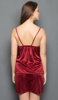 Satin Camisole & Shorts In Maroon