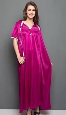 2 Pcs Satin Nightwear In Wine - Robe, Nightie