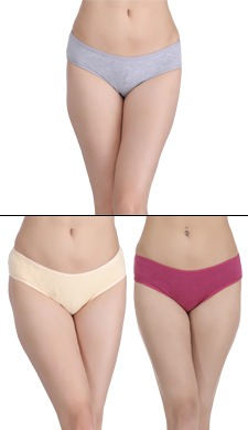 Set Of 3 Cotton Rich Mid Waist Bikini Panties