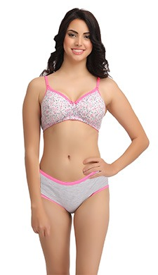 Cotton Printed T-shirt Bra & Panty Set