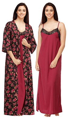 Set Of Crepe Nighty & Floral Print Robe