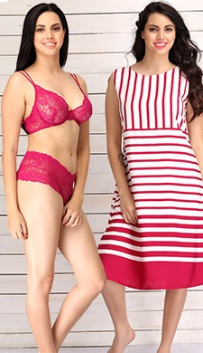 296b481f36315 Set Of Crepe Striped Beachdress  amp  Lace Bra-Brief Set Best Deals ...