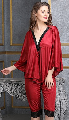 2 Pcs Satin Nightwear Set in Maroon & Black - Kaftan Top & Pyjama