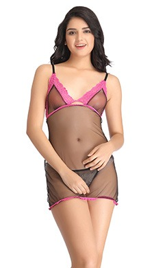 Sheer Babydoll With Lacy Detail