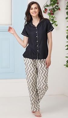 Shirt & Chevron Print Pyjama Set