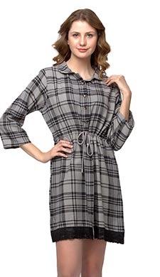 Short Check Printed Winter Short Nightdress - Grey