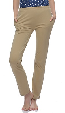 Soft Cotton Solid Pyjama In Beige