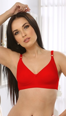 Cotton Rich Non-Padded Moulded T-shirt Bra In Red