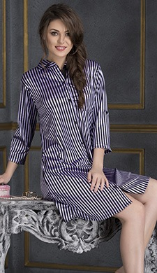 Striped Sleepshirt - Black