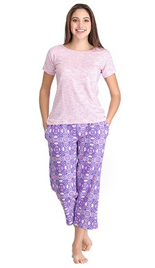 Top & Printed Pyjama Set