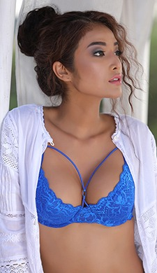Underwired Lacy Cage Front Bra