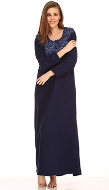 Warm Fleece Nightie In Navy Blue