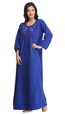 Warm Fleece Nightie In Royal Blue