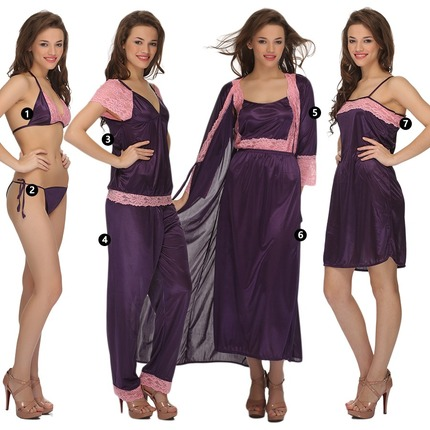 7 Pc Satin Nightwear Set - Purple