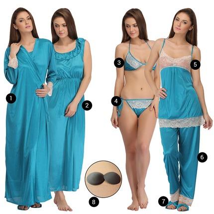 8 PC Satin Nightwear Set