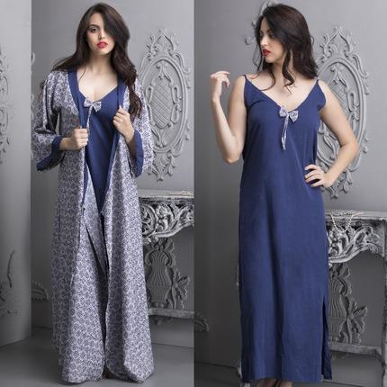 Crepe Printed Long Nightie & Robe Set - Blue