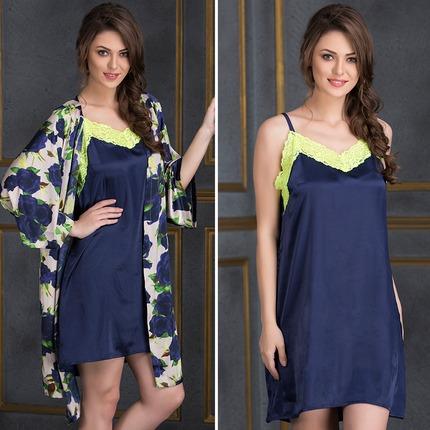 Lacy Neck Satin Nightie & Floral Robe Set - Blue