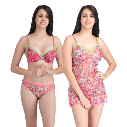 Set of Printed Babydoll and Push-Up Bra-Bikini