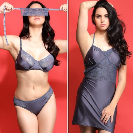 Set of Halter Neck Babydoll with Thong, Underwired Bra, Mid Waist Bikini and an Eye Mask