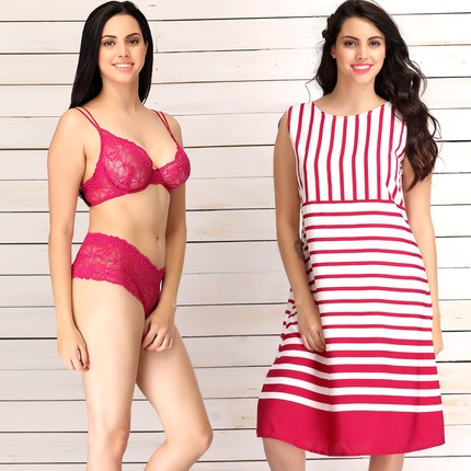 Set of Crepe Striped Beachdress & Lace Bra-Brief Set
