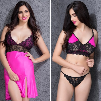 Set of Lace Babydoll-Thong & Lace Bralette-Thong