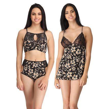 Set of Printed Babydoll with Thong & Bralette-Brief