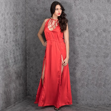 Sexy Satin Nightgown With Mesh Lace In Red