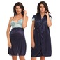 2 Pc Premium Satin Nightwear In Blue With Lace