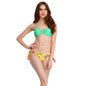 2 Pc Polyamide Swimsuit of Padded Bra & Printed Brief In Aqua