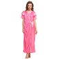 3 Pcs Satin Nightwear In Hot Pink