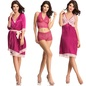 4 Pc Nightwear Set In Magenta