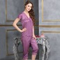 4 Pcs Satin Nightwear In Purple