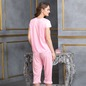 4 Pcs Satin Nightwear In Baby Pink - Robe, Nightie, Top, Capri