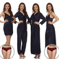 8 Pcs Satin Nightwear Set In Dark Blue