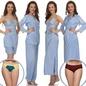 8 Pcs Satin Nightwear Set In Light Blue