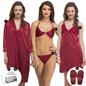 9 Pc Nightwear Set In Maroon
