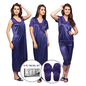 9 Pc Satin Nightwear Set - Blue
