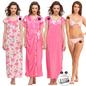 9 Pc Satin Nightwear Set - Hot Pink