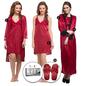 9 Pc Satin Nightwear Set - Maroon