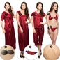 9 Pc Wine Nightwear Set