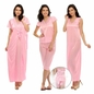 6 Pcs Satin Nightwear In Baby Pink