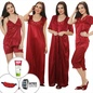 9 Pcs Nightwear Set In Maroon