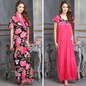 2 Pcs Printed Satin Nightwear In Black & Pink - Robe & Nightie