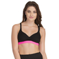 Cotton Padded Sports Bra In Black With Pink Broad Elastic