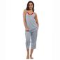 Blue Cotton Spandex Camisole & Capri Set With Contrast Lace