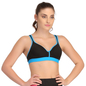 Padded Sports Bra In Black With Blue Trims & Broad Elastic