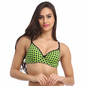 Cotton Push Up Non-Wired Bra In Green With Demi Cups