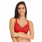 Lace Non-Padded Wirefree Full Cup Bridal Bra - Red